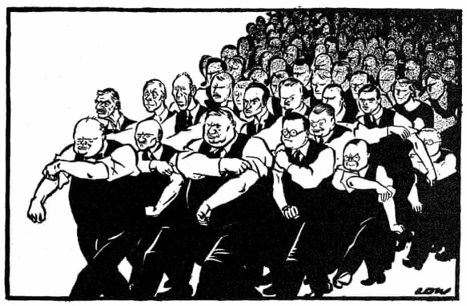 David Low's cartoon, 'All behind you, Winston', featuring Bevin alongside Churchill, May 1940