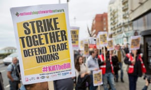 A demonstration against the trade union bill in Brighton on 13 September 2015.