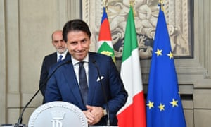 Giuseppe Conte addresses the media after a meeting with Italian president Sergio Mattarella in Rome on Thursday.