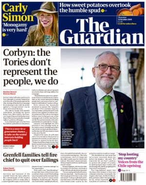 Guardian front page, Thursday 31 October 2019