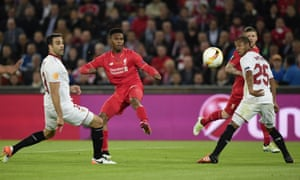 Better days: Sturridge opens the scoring in the 2016 Europa League final against Sevilla in Basel, but Liverpool fell apart in the second half.
