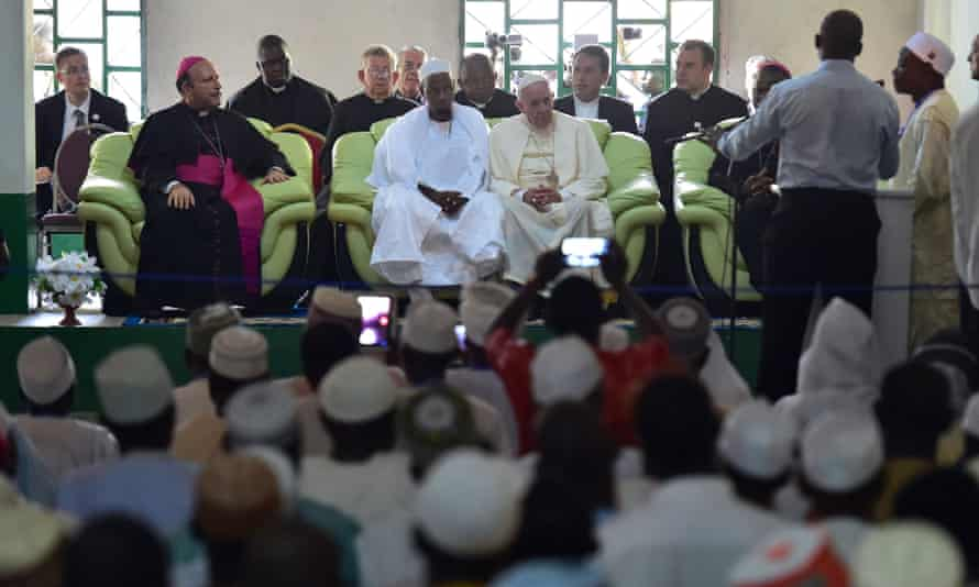 Pope Francis during a visit to the Central Mosque in Bangui.