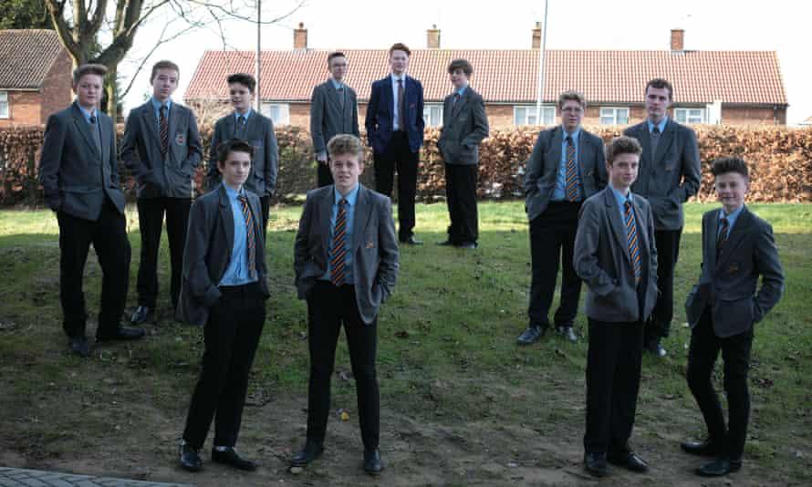 12 boys in school uniform