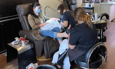 A customer receives a Covid-secure pedicure at Coco.