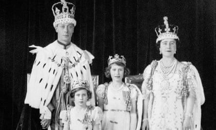 King George VI and Queen Elizabeth with their daughters after the king's coronation in 1937.