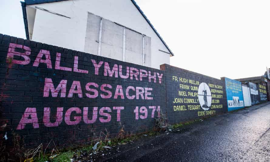 A mural on a wall in West Belfast remembering the Ballymurphy killings of 1971
