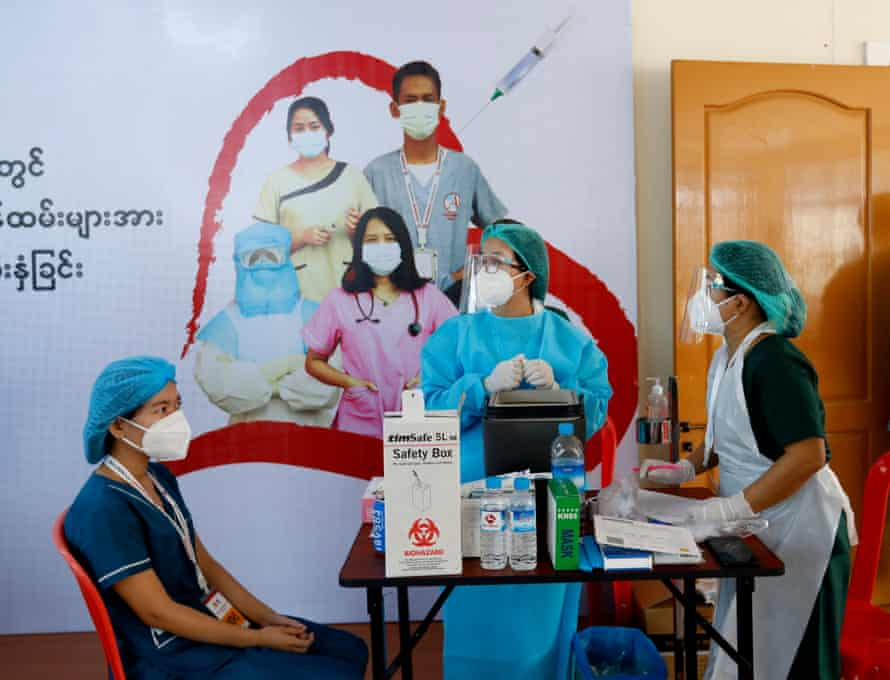 A Covid-19 vaccination site at the Ayeyarwady Foundation quarantine centre in Yangon, 27 January 2021