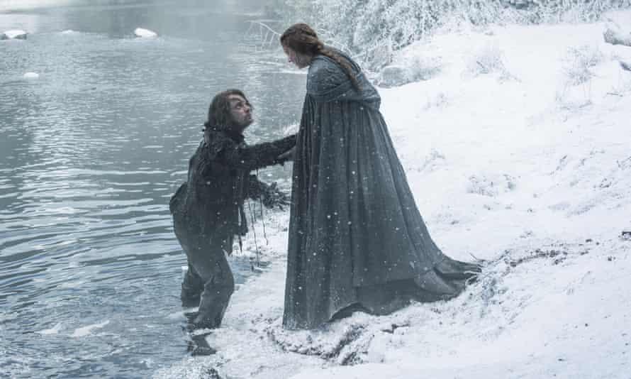 Theon Greyjoy (Alfie Allen) and Sansa Stark (Sophie Turner) in the first episode of season six.