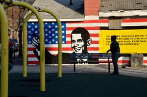 A 2015 playground mural painted by local students in Sandtown is dedicated to President Obama and includes his quote: 'If you're walking down the right path and you're willing to keep walking, eventually you'll make progress'