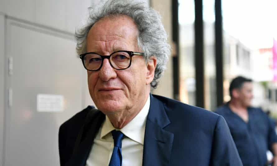 Australian actor Geoffrey Rush leaves the federal court in Sydney on Thursday.