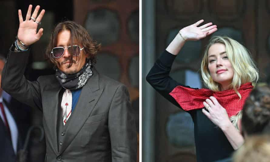 Johnny Depp and actress Amber Heard arrive at the high court in London in July.
