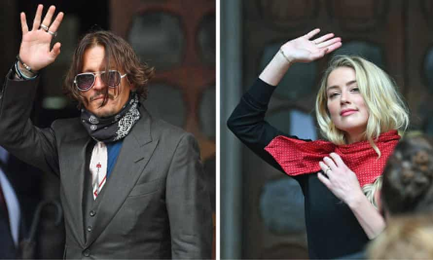 Johnny Depp, left, and Amber Heard arriving at the high court in London