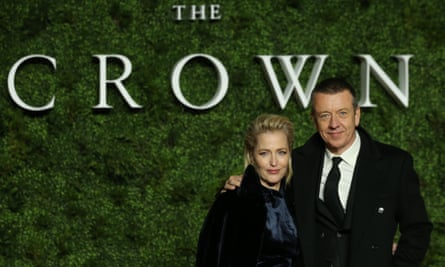 Writer Peter Morgan with Gillian Anderson, who will play Margaret Thatcher in season 4 of The Crown.