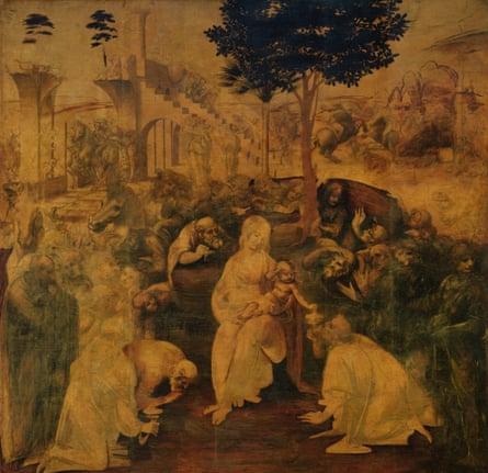 The Adoration of the Magi (1481-2) by Leonardo da Vinci.