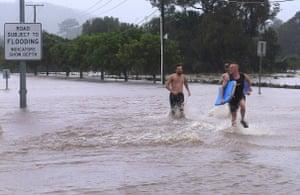 Residents brave the waters in Mudgeeraba