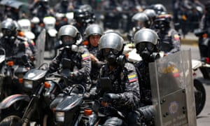 Police on motorcycles patrol in Caracas, Venezuela