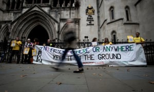 Anti-fracking campaigners fighting to overturn a government decision to approve a fracking site in Lancashire outside the Royal Courts of Justice.
