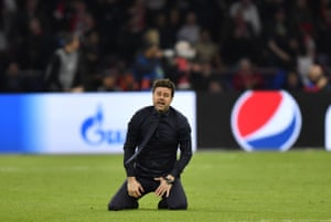 An emotional Pochettino, not ready for the microphone just yet.
