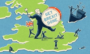 Cartoon: Johnson striding across Britain