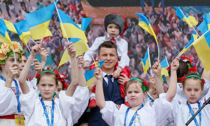The captain of Ukraine's national team, Ruslan Rotan, attends the official farewell ceremony for Euro 2016 tournament.