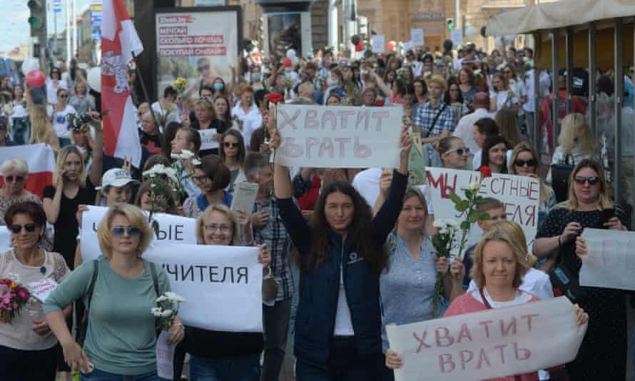 Teachers protest in Minsk on Friday against police brutality and the official result of the presidential election