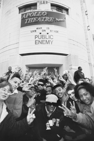 Public Enemy at Manchester, UK's Apollo Theatre in 1988. In the center are Chuck D, Terminator X and Flavor Flav; second from the left is Hip Hop Raised Me author DJ Semtex. Members of Security of the First World stand either side of the doors to the venue