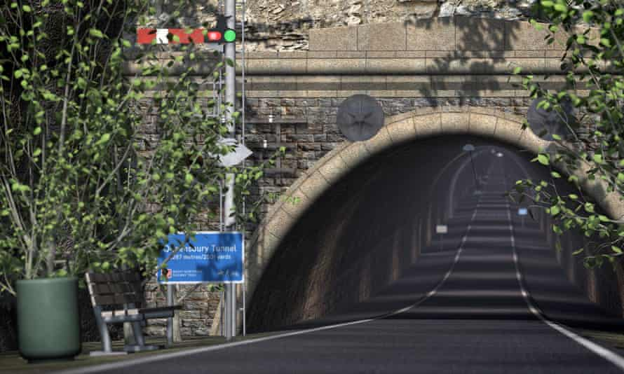 A virtual image of the Queensbury tunnel as a cycle route.