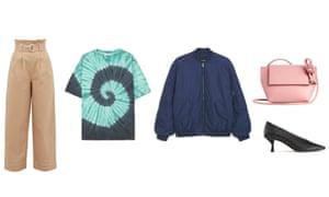 Trousers, £170, T-shirt, £60, Bomber, £60, Bag, £69, Heels, £90