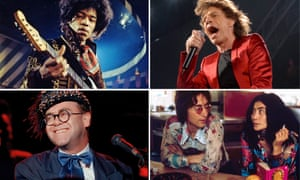 Biographical rollercoaster … (clockwise from top left) Jimi Hendrix, Mick Jagger, John Lennon and Yoko Ono and Elton John