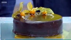 Jane's amazing mirror-glaze cake wins.
