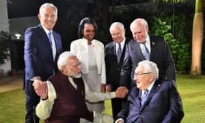 Narendra Modi, Henry Kissinger, Tony Blair, Condoleezza Rice, Robert Gates and John Howard meet in New Delhi