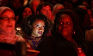 Audience member looks toward the stage during the She the People Presidential Forum in Houston.
