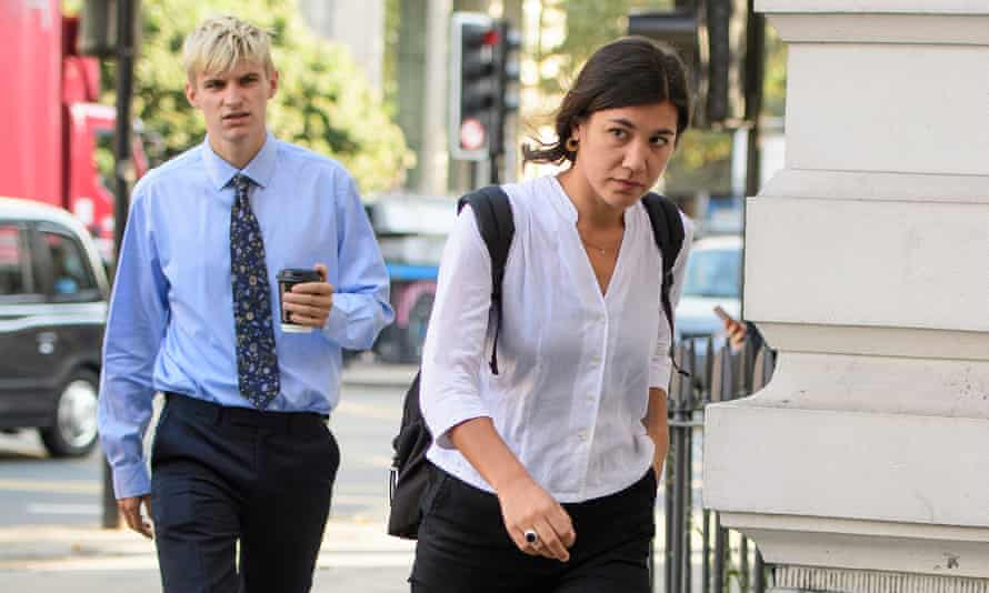 Ben Tippett and Natalie Fiennes arrive at Westminster magistrates court