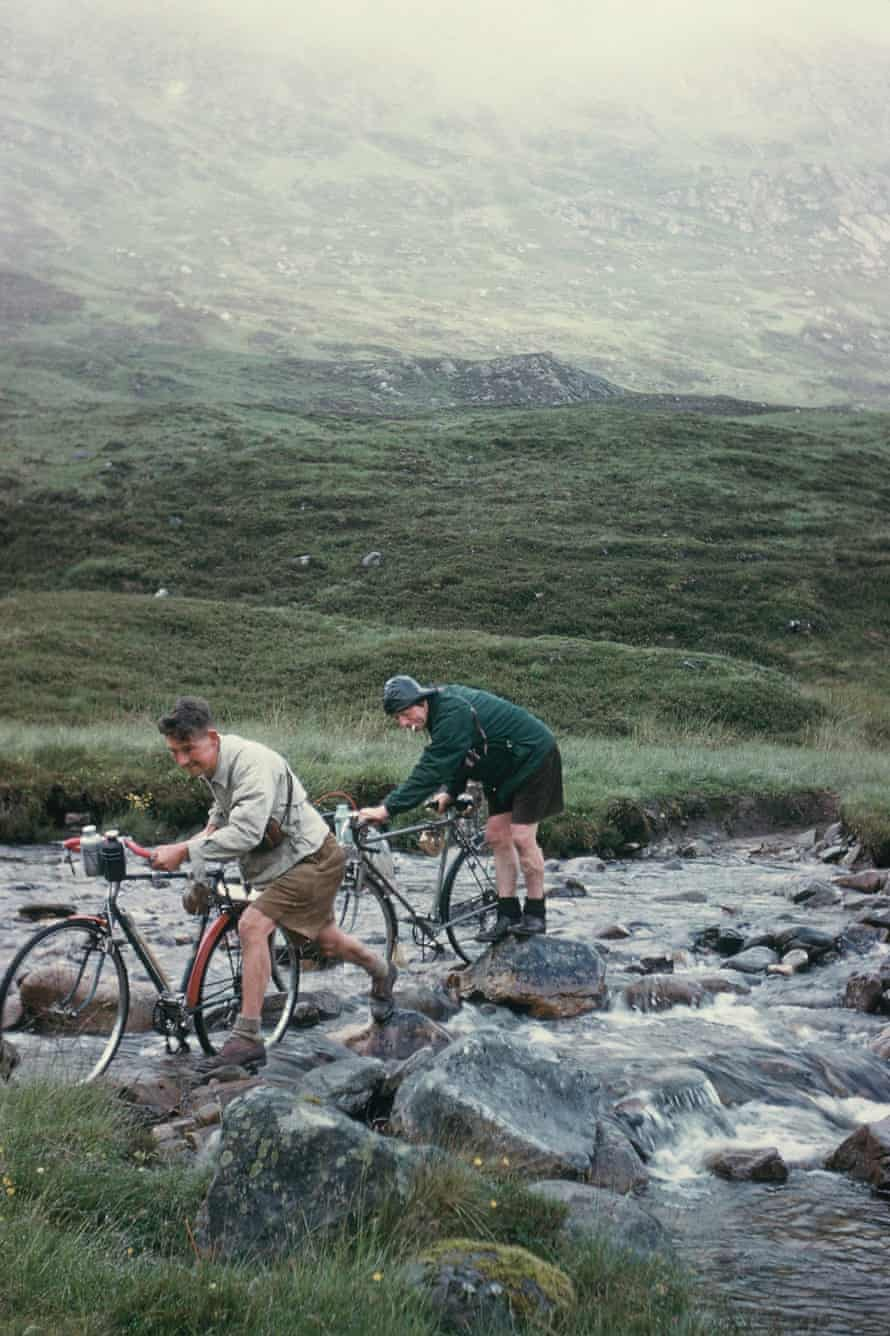 Crossing a stream on Corrie Coillie in Scotland 1959