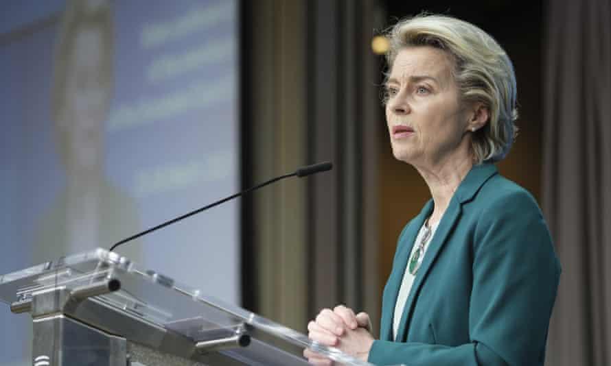 European commission president Ursula von der Leyen speaking in Brussels, Belgium.