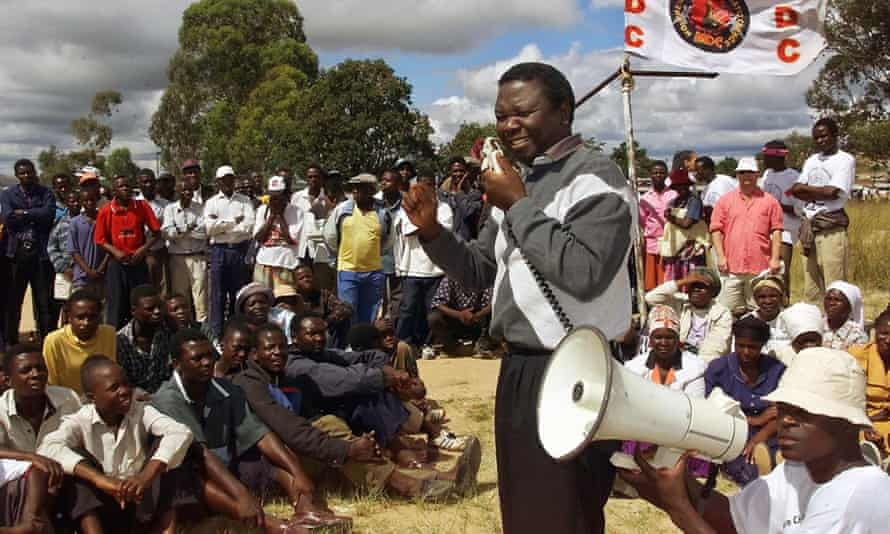 Morgan Tsvangirai addresses supporters at an MDC rally in April 2000