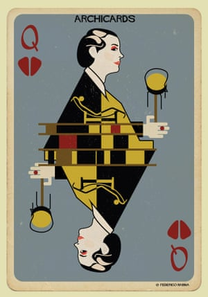 Charlotte Perriand portrayed in one of Federico Babina's Archicards