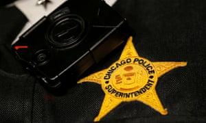 Chicago Police Superintendent Eddie Johnson wears a body camera in Chicago
