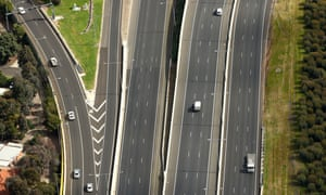 An empty Melbourne freeway during Covid lockdown