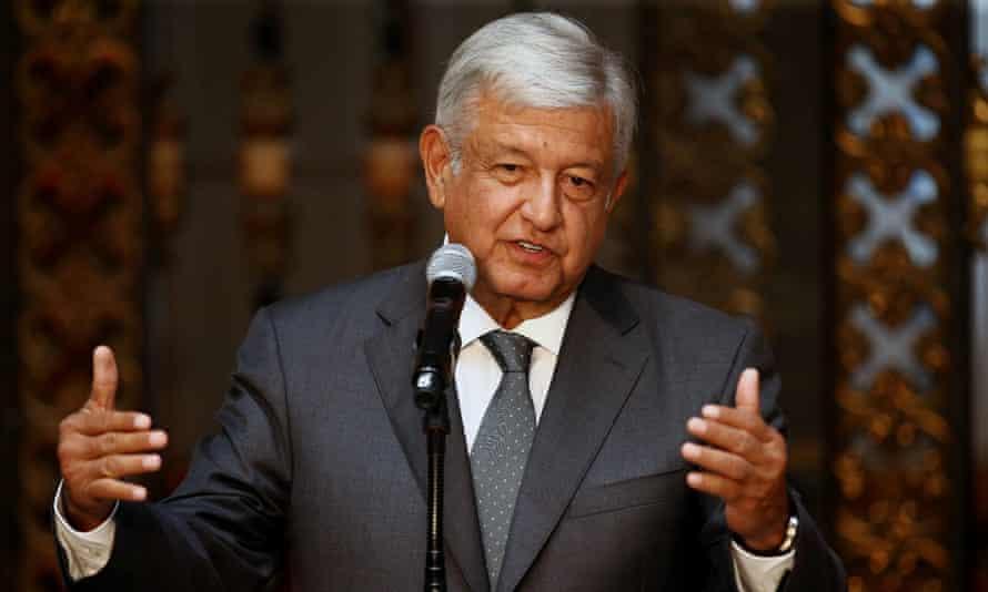 Mexico's president-elect, Andrés Manuel López Obrador, addresses the media.
