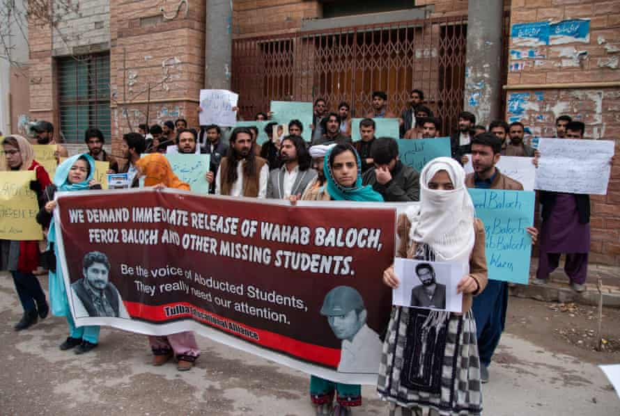 Students protest against the abduction of two of their fellows in front of the press club in Quetta, Balochistan