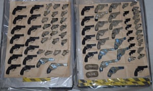 The massive guns haul which was recovered from a vehicle on the French side of the Channel Tunnel