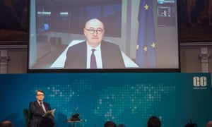 Phil Hogan (on screen) being interviewed by video link by Peter Mandelson (below) at the Global Counsel event today.