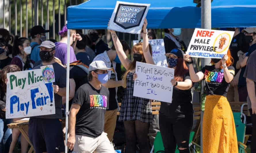Activision Blizzard employees call for changes in conditions for women and other marginalized groups, in Irvine, California, in July