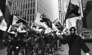 The Black Panthers march in protest of the trial of co-founder Huey P Newton in Oakland. Many black bookstores served as hubs for the Black Power movement.