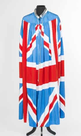 Jagger's Britannia flag cape, designed by Chrissie Walsh and worn at UK gigs in 1982.