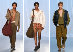 Qasimi: Qasimi's urban nomad returned to London in a swathe of khaki hues, inspired by the work of photographer Aldo Fallai and north Africa. Cue soft, double-faced cottons and washed denim in slouchy, relaxed silhouettes – clothes designed to discover and explore in. Bravo.