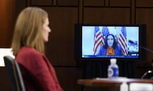 US-VOTE-JUSTICEDemocratic vice-presidential candidate Senator Kamala Harris speaks virtually during the second day of Senate Judiciary Committee confirmation.
