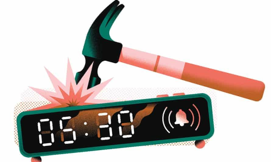 Illustration of hammer and alarm clock set for 05.30