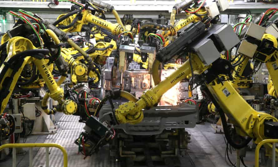 An automated car factory in Russia.